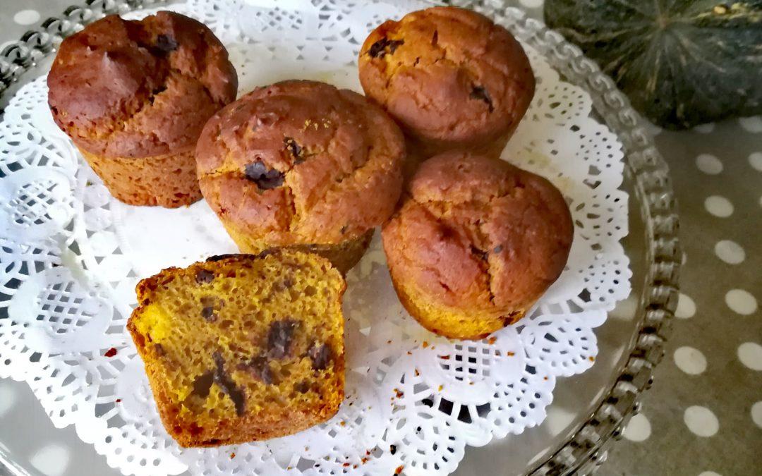 Muffin di zucca e pepite di cioccolato fondente